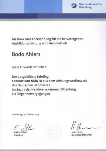 Urkunde Ausbildung Handwerkskammer Oldenburg