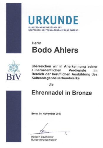 Urkunde Ehrennadel Kaelteanlagenbauerhandwerk 2017