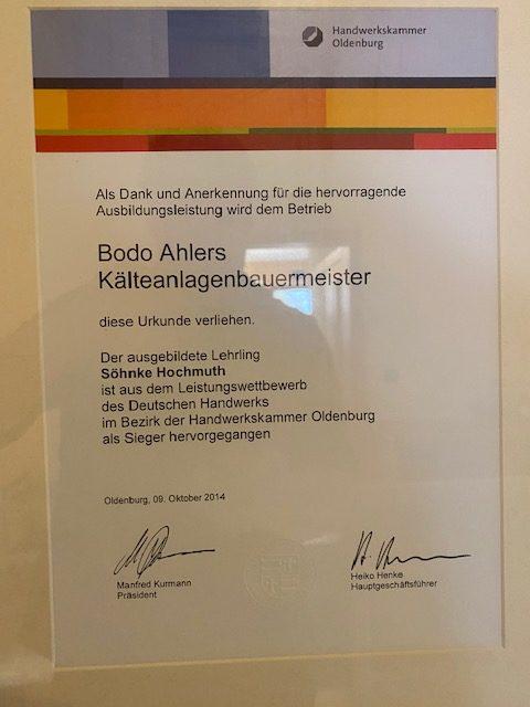 Urkunde Kaelteanlagenbauermeister Ausbildung 2014