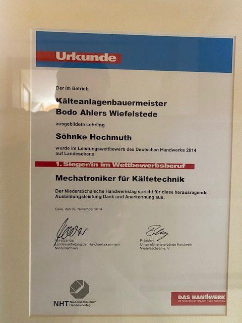 Urkunde Kaelteanlagenbauermeister Leistungswettbewerb 2014