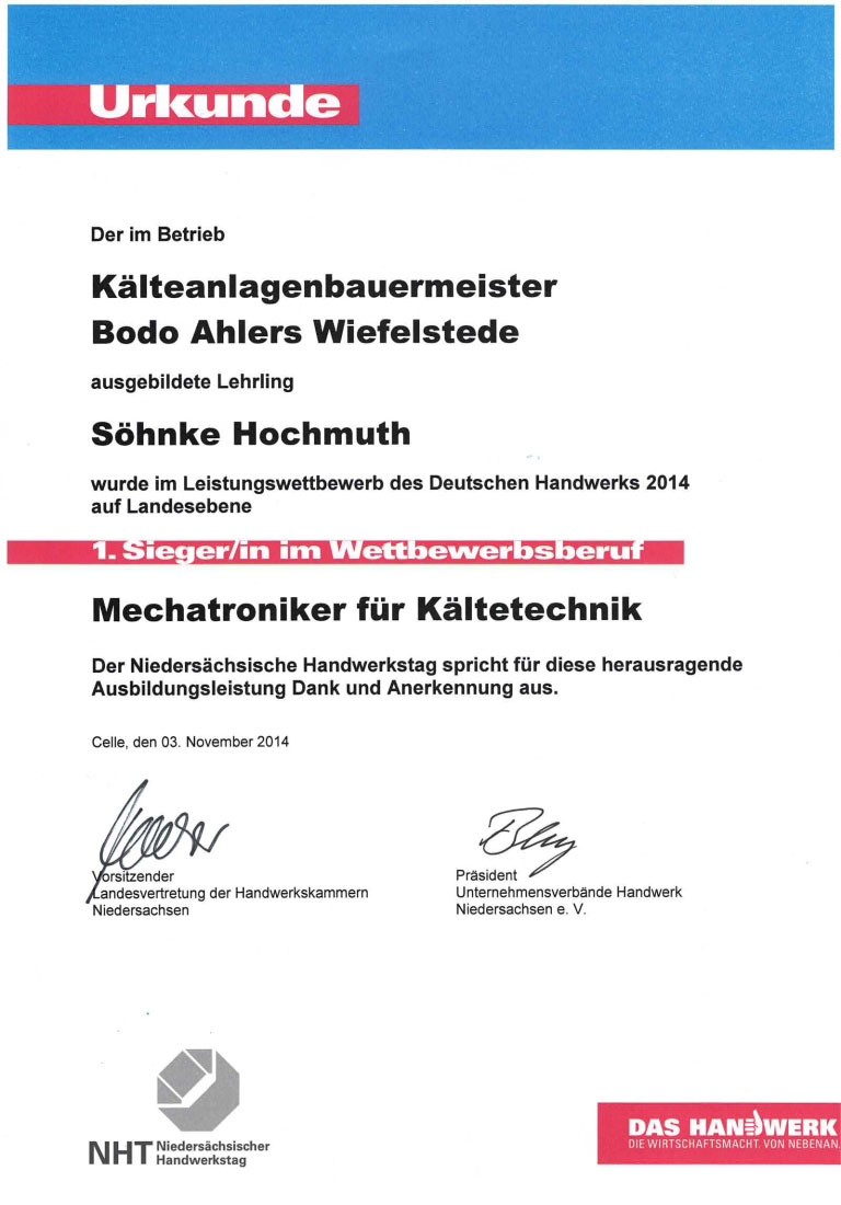 Urkunde Leistungsbewerb Mechatroniker fuer Kaeltetechnik 2014