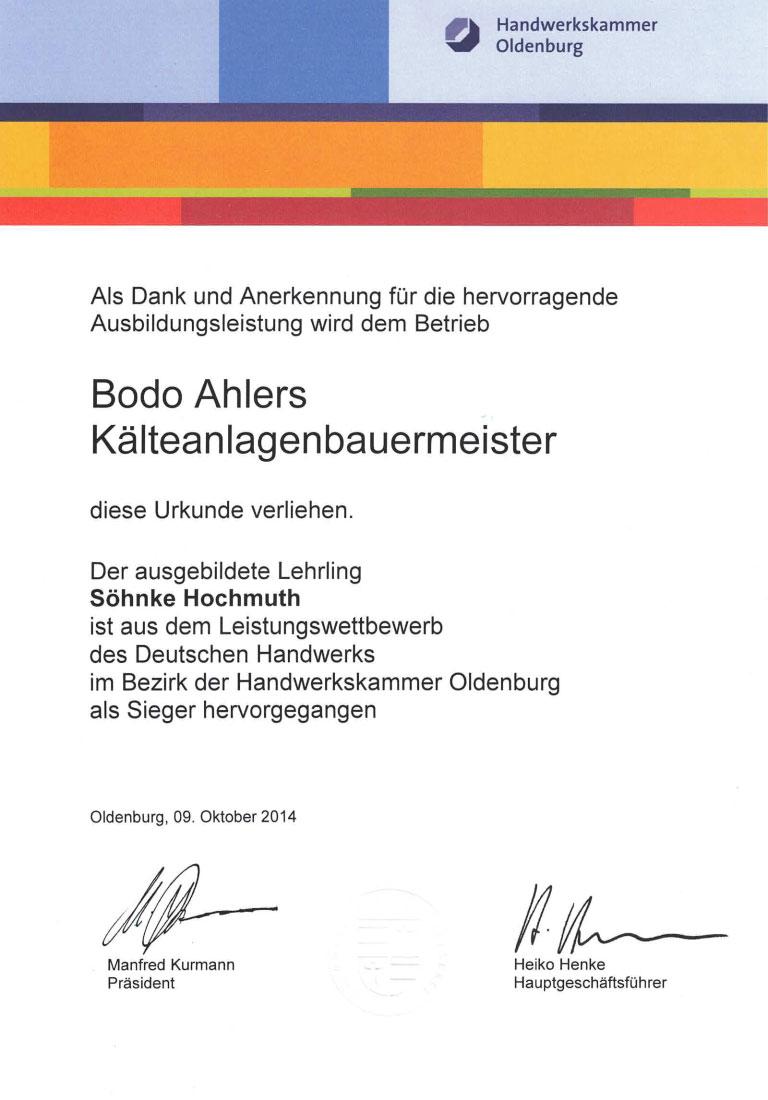 Urkunde Leistungswettbewerb Ausbildung Kaelteanlagenbauer Handwerkskammer Oldenburg