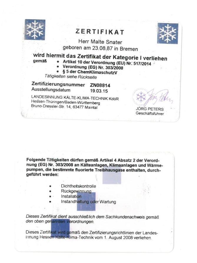 Zertifikat Snater