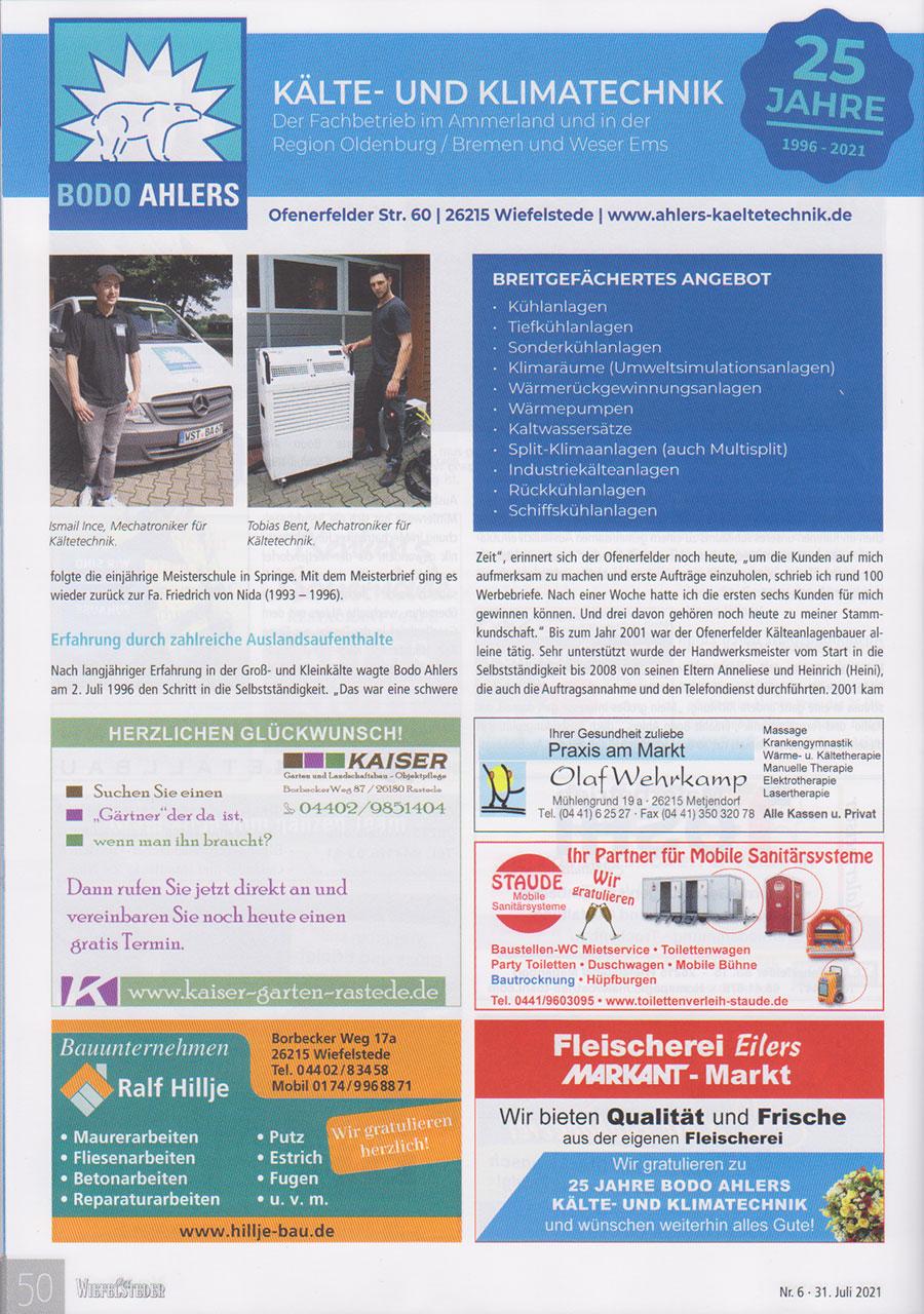 25 Jahre Ahlers Kaelte und Klimatechnik Wiefelsteder 3